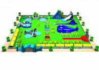 Earth - Friendly Combined Inflatable Amusement Park With Slide And Water Pool