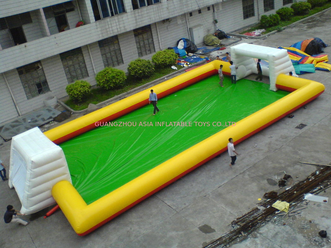 Yellow With Blue Inflatable Soap Soccer Field For Commercial Use
