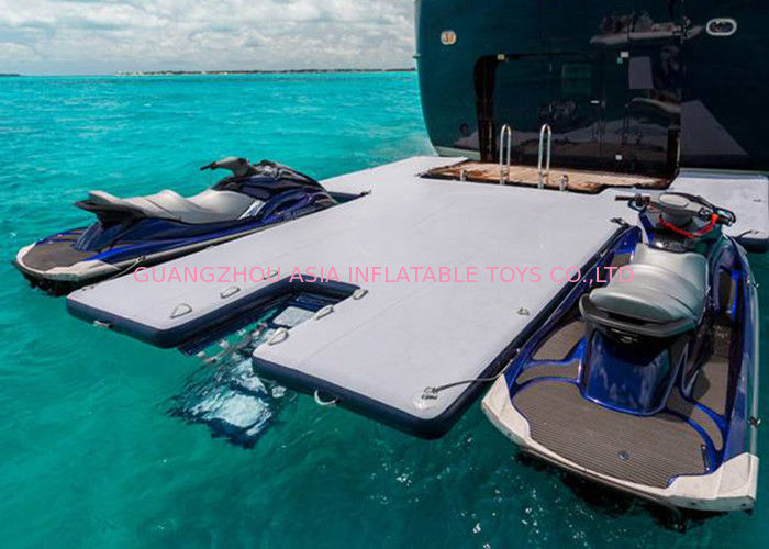 Durable Inflatable Yacht Slides Mega Dock , Jet - Ski Drive - On Blow Up Swim Platform